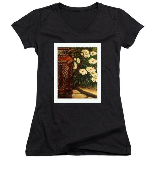 Copper And Daisies Women's V-Neck T-Shirt (Junior Cut) by Harriett Masterson