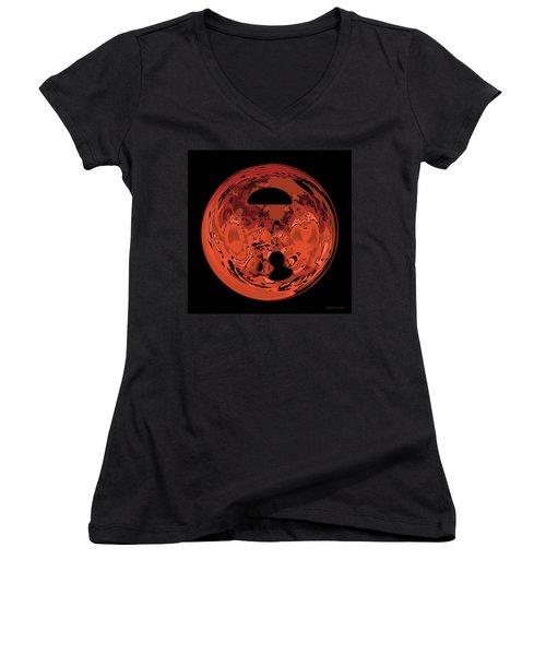 Women's V-Neck T-Shirt (Junior Cut) featuring the digital art Copper Disk Abstract by Judi Suni Hall