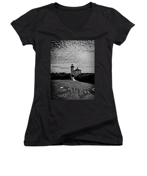 Coquille River Lighthouse Women's V-Neck T-Shirt (Junior Cut) by Melanie Lankford Photography