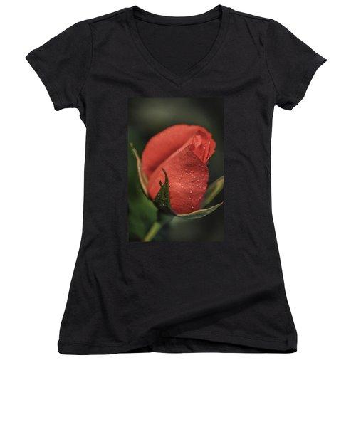 Coral Rosebud Women's V-Neck T-Shirt