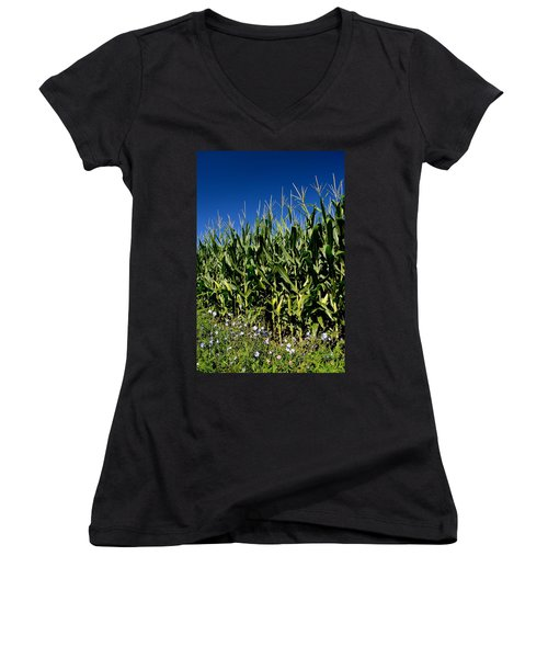 Corn And Wildflowers Women's V-Neck