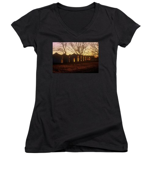 Women's V-Neck T-Shirt (Junior Cut) featuring the photograph Corn Cribs At Sunset by Rodney Lee Williams