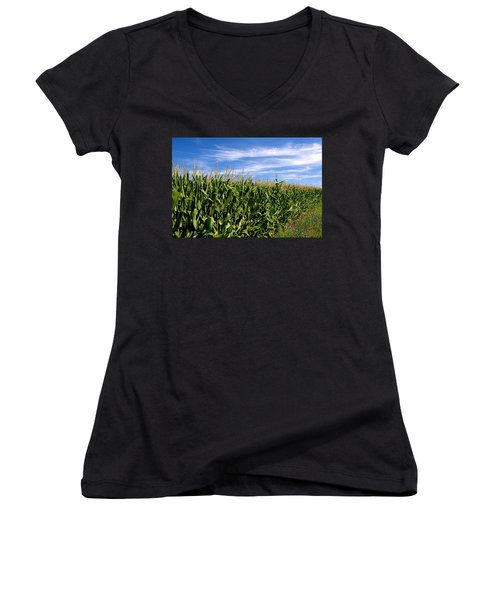 Cornfield And Clouds Women's V-Neck