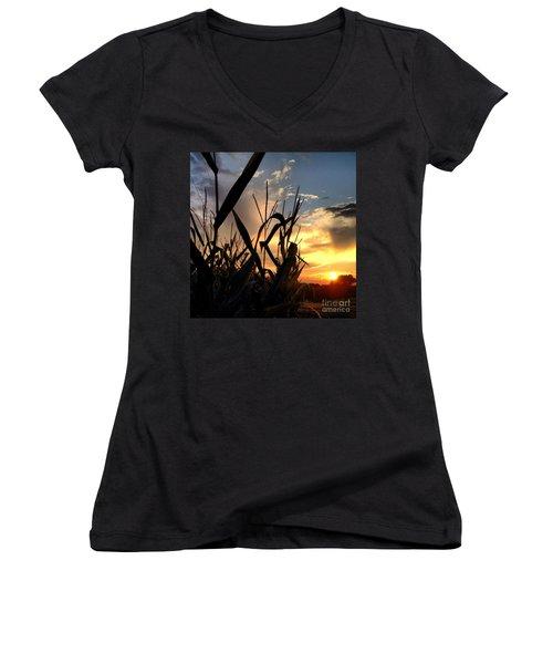 Cornfield Sundown Women's V-Neck T-Shirt (Junior Cut) by Angela Rath
