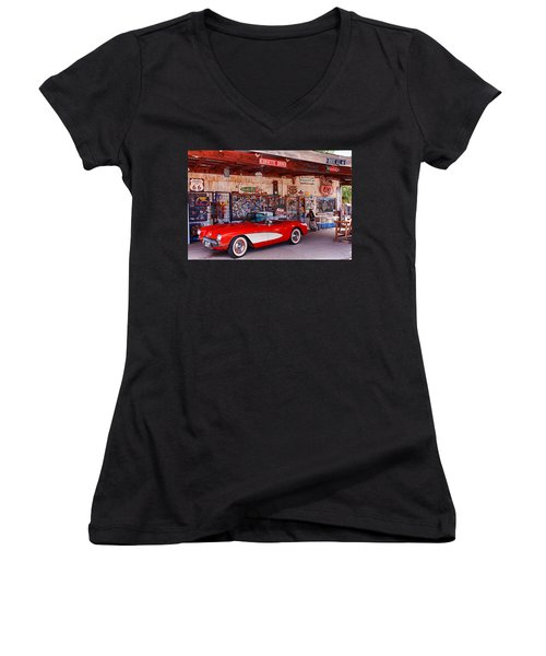 Corvette Drive Rt 66 Women's V-Neck (Athletic Fit)