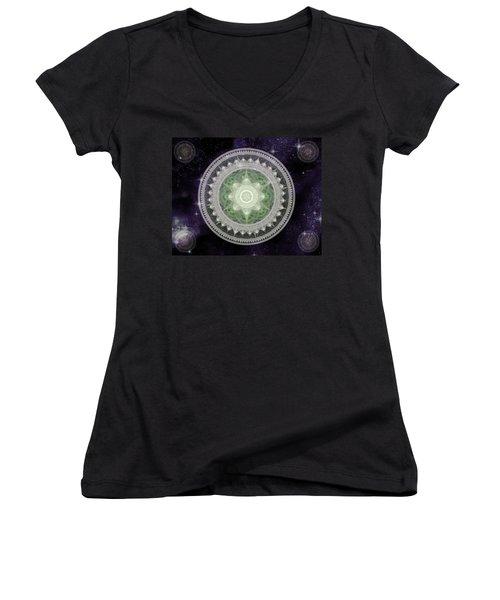 Cosmic Medallions Earth Women's V-Neck