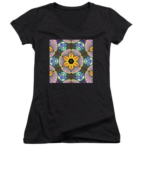 Cosmic Spiral Kaleidoscope 13 Women's V-Neck T-Shirt (Junior Cut) by Derek Gedney
