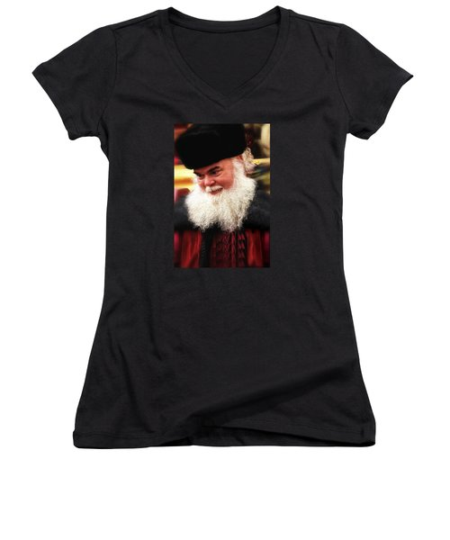Cossack Santa Women's V-Neck T-Shirt (Junior Cut) by Nadalyn Larsen
