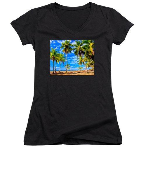 Costa Rican Paradise Women's V-Neck T-Shirt (Junior Cut) by Michael Pickett
