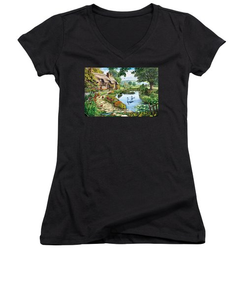 Cottage By The Lake Women's V-Neck (Athletic Fit)