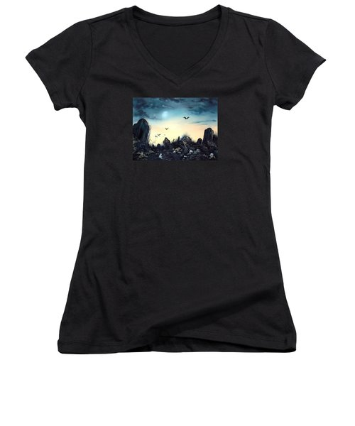 Count The Eyes Women's V-Neck T-Shirt (Junior Cut) by Jean Walker