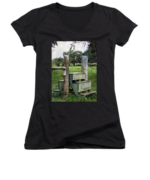 Women's V-Neck T-Shirt (Junior Cut) featuring the photograph Country Farm Fence Stile Crossing by Ella Kaye Dickey