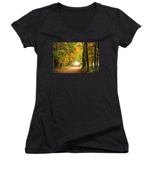 Women's V-Neck T-Shirt (Junior Cut) featuring the photograph Country Road In Autumn by Terri Gostola