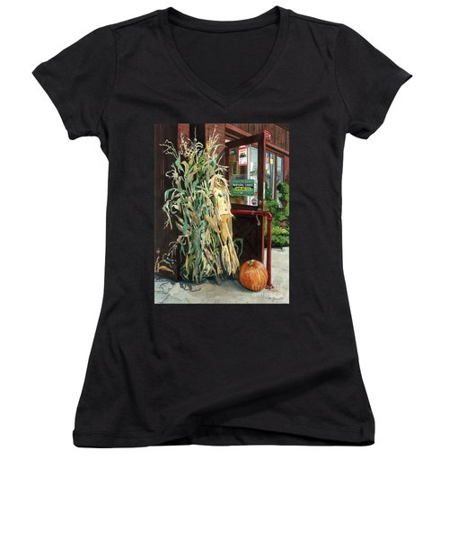Women's V-Neck T-Shirt (Junior Cut) featuring the painting Country Store by Barbara Jewell