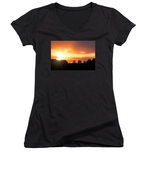 Country Sunset Silhouette Women's V-Neck