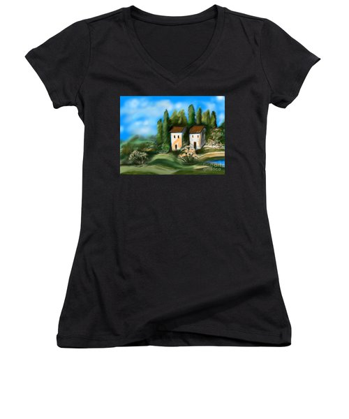 Countryside Women's V-Neck T-Shirt (Junior Cut) by Christine Fournier