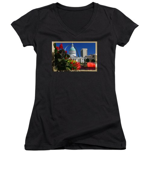 Courthouse Arch Skyline Fountain Women's V-Neck