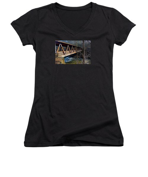 Covered Bridge In Roswell Women's V-Neck (Athletic Fit)