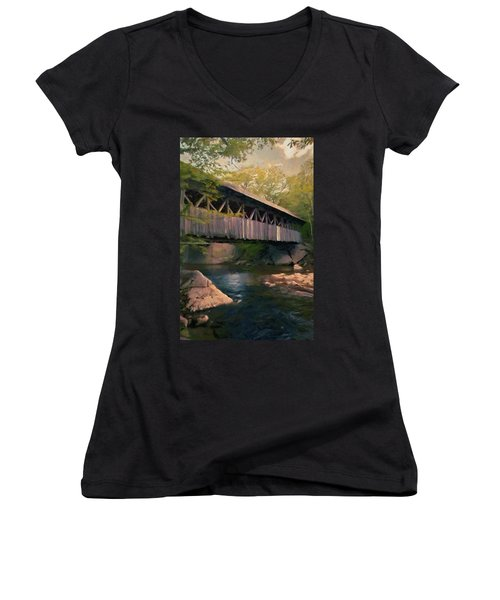 Covered Bridge Women's V-Neck T-Shirt (Junior Cut) by Jeff Kolker