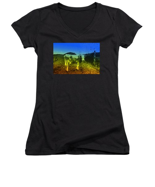 Women's V-Neck T-Shirt (Junior Cut) featuring the digital art Cow On Lsd by Cathy Anderson