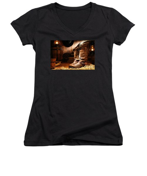 Cowboy Boots In A Ranch Barn Women's V-Neck