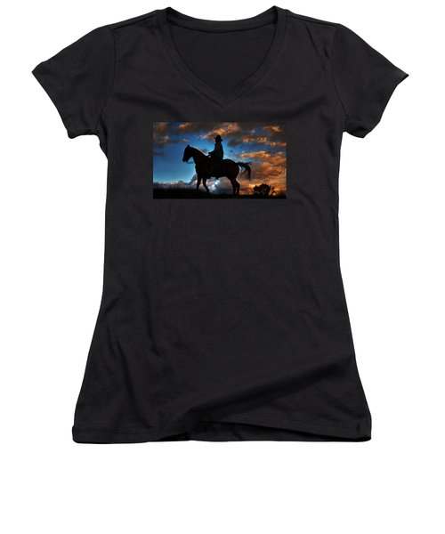 Women's V-Neck T-Shirt (Junior Cut) featuring the photograph Cowboy Silhouette by Ken Smith