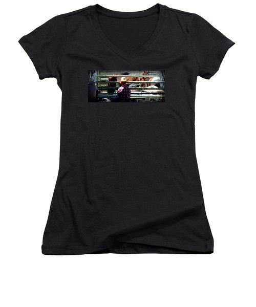 Cowboys Corral Women's V-Neck T-Shirt (Junior Cut) by Susan Garren