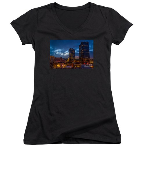 Cowtown At Night Women's V-Neck