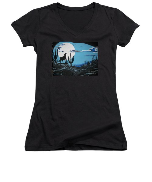Women's V-Neck T-Shirt (Junior Cut) featuring the painting Coyote by Jeffrey Koss