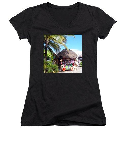 Women's V-Neck T-Shirt (Junior Cut) featuring the photograph Cozumel Souvernir Shopping by Debra Martz