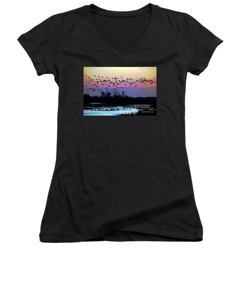 Crane Watch 2013 Women's V-Neck T-Shirt (Junior Cut) by Elizabeth Winter