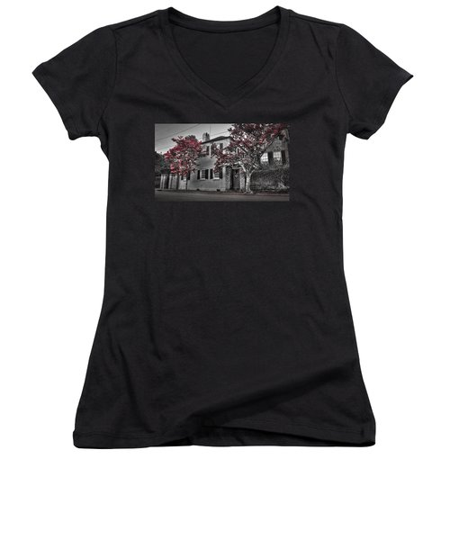 Crape Myrtles In Historic Downtown Charleston 1 Women's V-Neck T-Shirt