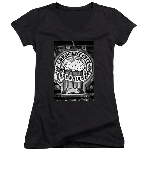 Crescent City Brewhouse - Bw Women's V-Neck T-Shirt (Junior Cut) by Kathleen K Parker