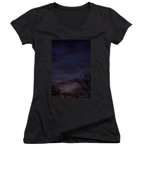 Crescent Moon And Venus Rising Women's V-Neck