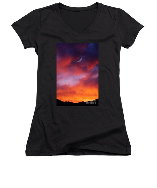 Women's V-Neck T-Shirt (Junior Cut) featuring the photograph Crescent Moon In Purple by Joseph J Stevens