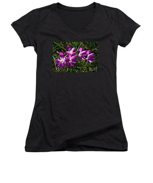 Crocus In The Grass Women's V-Neck
