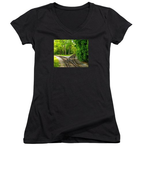 Women's V-Neck T-Shirt (Junior Cut) featuring the photograph Crossing The Lines by Joy Hardee