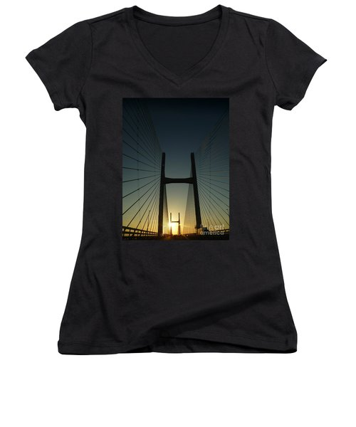Women's V-Neck T-Shirt (Junior Cut) featuring the photograph Crossing The Severn Bridge At Sunset - Cardiff - Wales by Vicki Spindler