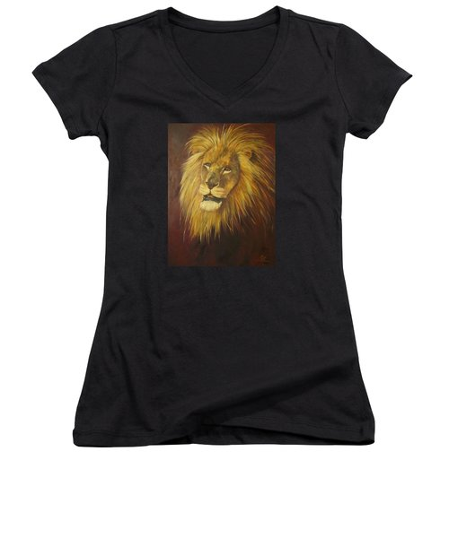 Crown Of Courage,lion Women's V-Neck (Athletic Fit)