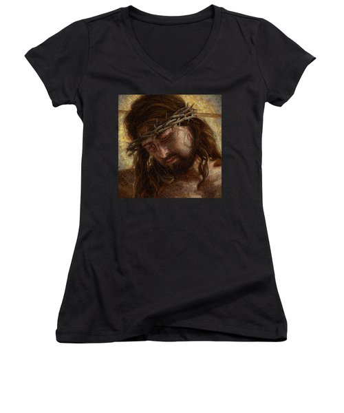 Crown Of Thorns Glass Mosaic Women's V-Neck