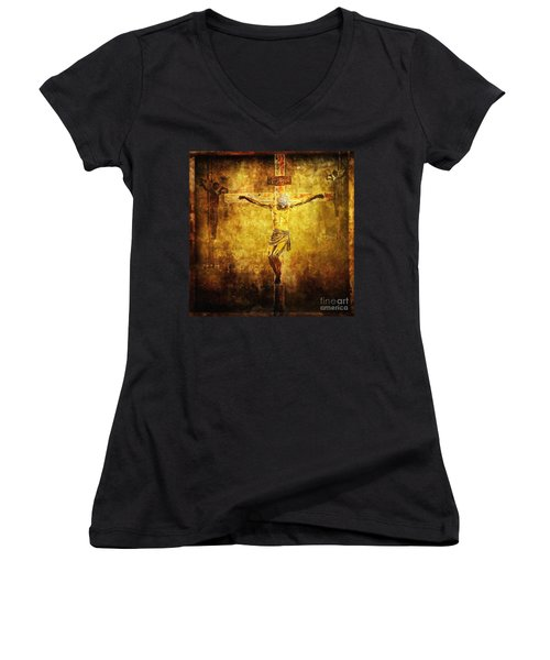 Crucified Via Dolorosa 12 Women's V-Neck (Athletic Fit)