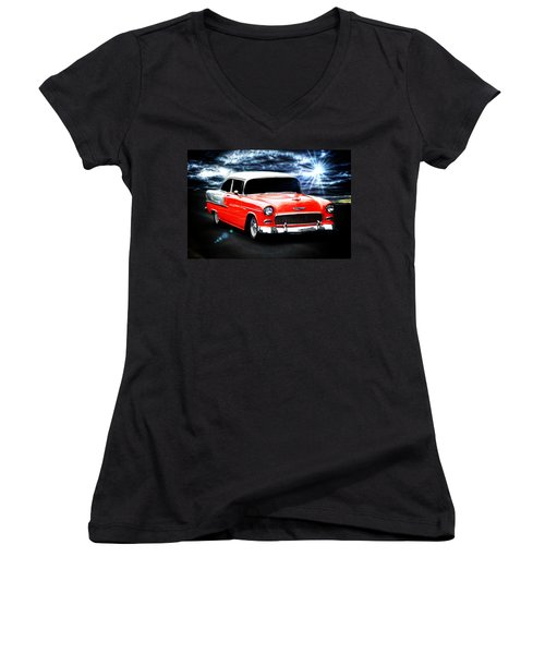 Aaron Berg Women's V-Neck T-Shirt (Junior Cut) featuring the photograph Cruze'n  by Aaron Berg
