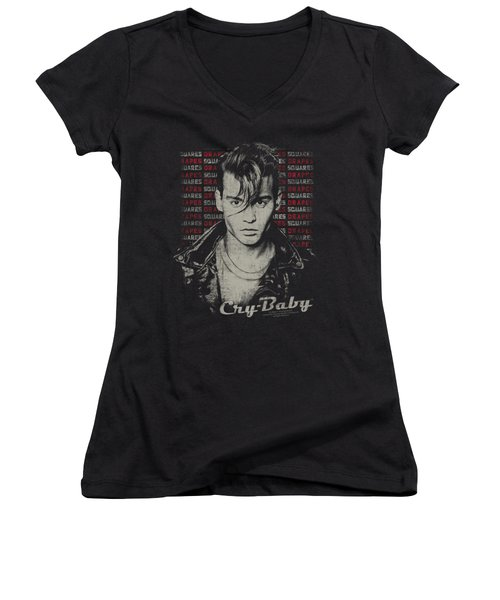 Cry Baby - Drapes And Squares Women's V-Neck T-Shirt (Junior Cut)
