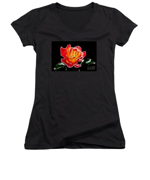 Women's V-Neck T-Shirt (Junior Cut) featuring the photograph Crystal Rose by Mariola Bitner