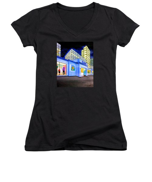 Women's V-Neck T-Shirt (Junior Cut) featuring the painting Csm Mall by Cyril Maza