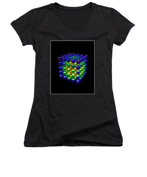 Women's V-Neck T-Shirt (Junior Cut) featuring the digital art Cube Of Cubes... by Tim Fillingim