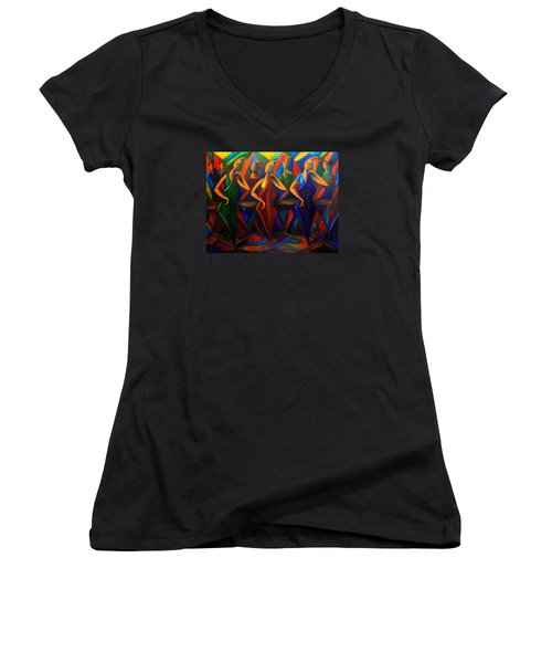 Cubism Music I Women's V-Neck T-Shirt
