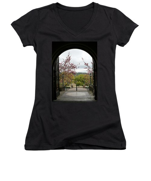 Women's V-Neck T-Shirt (Junior Cut) featuring the photograph Culinary Institute Of America At Greystone by Carol Lynn Coronios