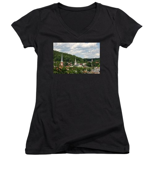 Cumberland Steeples Women's V-Neck T-Shirt (Junior Cut) by Jeannette Hunt