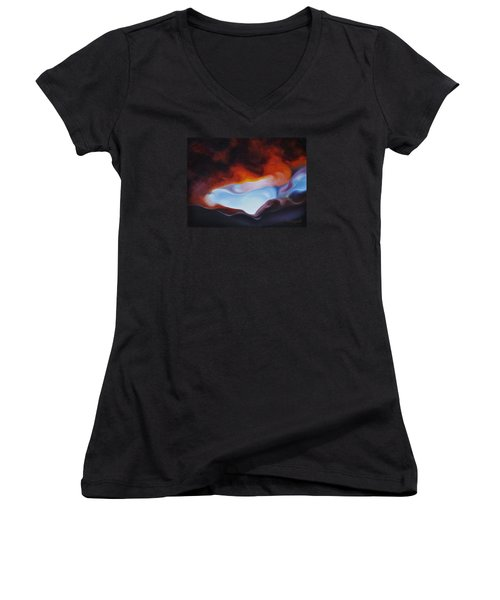 Women's V-Neck T-Shirt (Junior Cut) featuring the painting Curves On The Horizon by Craig Burgwardt